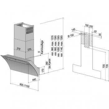 berbel dunstabzugshaube kopffreihaube glassline bkh 110 gl 2 104002 cookone. Black Bedroom Furniture Sets. Home Design Ideas