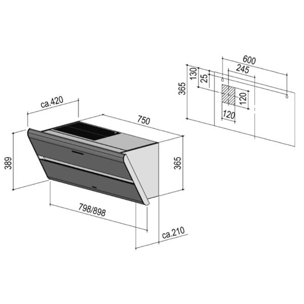 berbel dunstabzugshaube kopffreihaube smartline bkh 80 st u 1040011 schwarz cookone. Black Bedroom Furniture Sets. Home Design Ideas