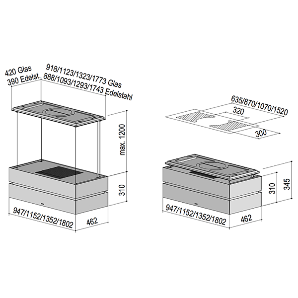 berbel deckenlifthaube skyline edge bdl 115 ske 1050003 cookone. Black Bedroom Furniture Sets. Home Design Ideas